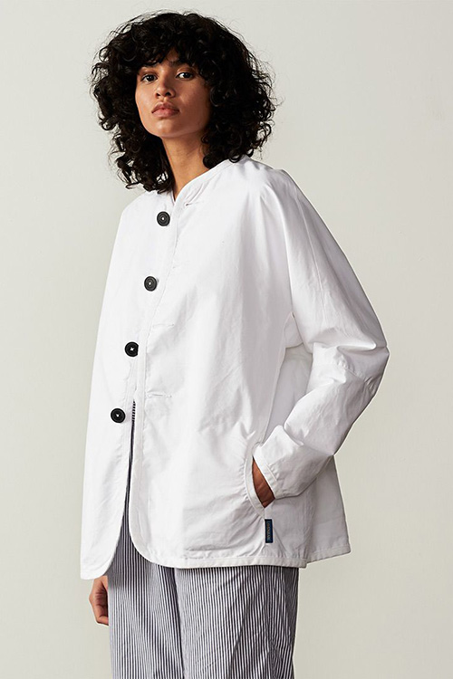 COTTON COLLARLESS SHOP COAT